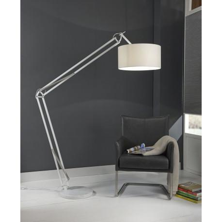 Lampadaire moderne articulé en tissu blanc Lumy