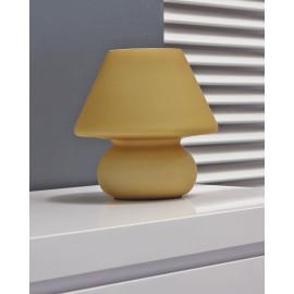 Lampe de table vintage en verre dépoli jaune Lucette