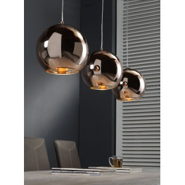 Suspension vintage 3 boules cuivre Disco