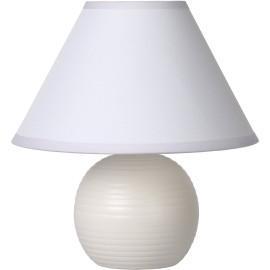Lampe à poser classique en céramique et tissu blanc Penny
