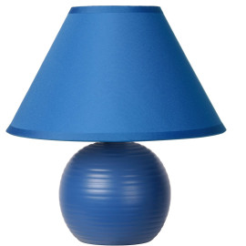Lampe à poser classique en céramique et tissu bleu Penny