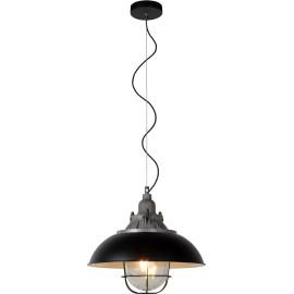 Suspension style industriel métal noir diamètre 40 cm Old
