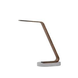 Lampe de bureau moderne led béton et bois foncé Paolo