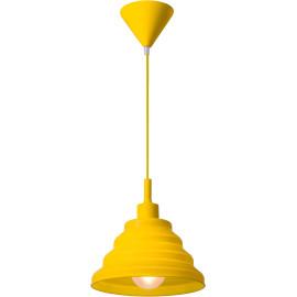 Suspension contemporaine en plastique et silicone jaune Callie