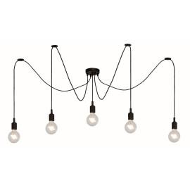 Suspension moderne en silicone noir 5 lampes Carmen