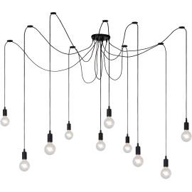 Suspension moderne en silicone noir 10 lampes Carmen