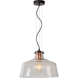 Suspension vintage en verre clair Caleb
