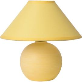 Lampe de table classique en céramique et tissu jaune mat