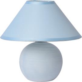 Lampe de table classique en céramique et tissu bleu mat