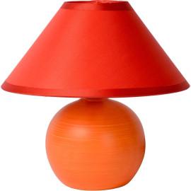 Lampe de table classique en céramique et tissu orange mat