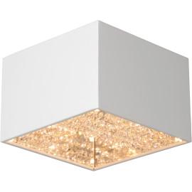 Plafonnier carré moderne en métal et verre blanc Helois