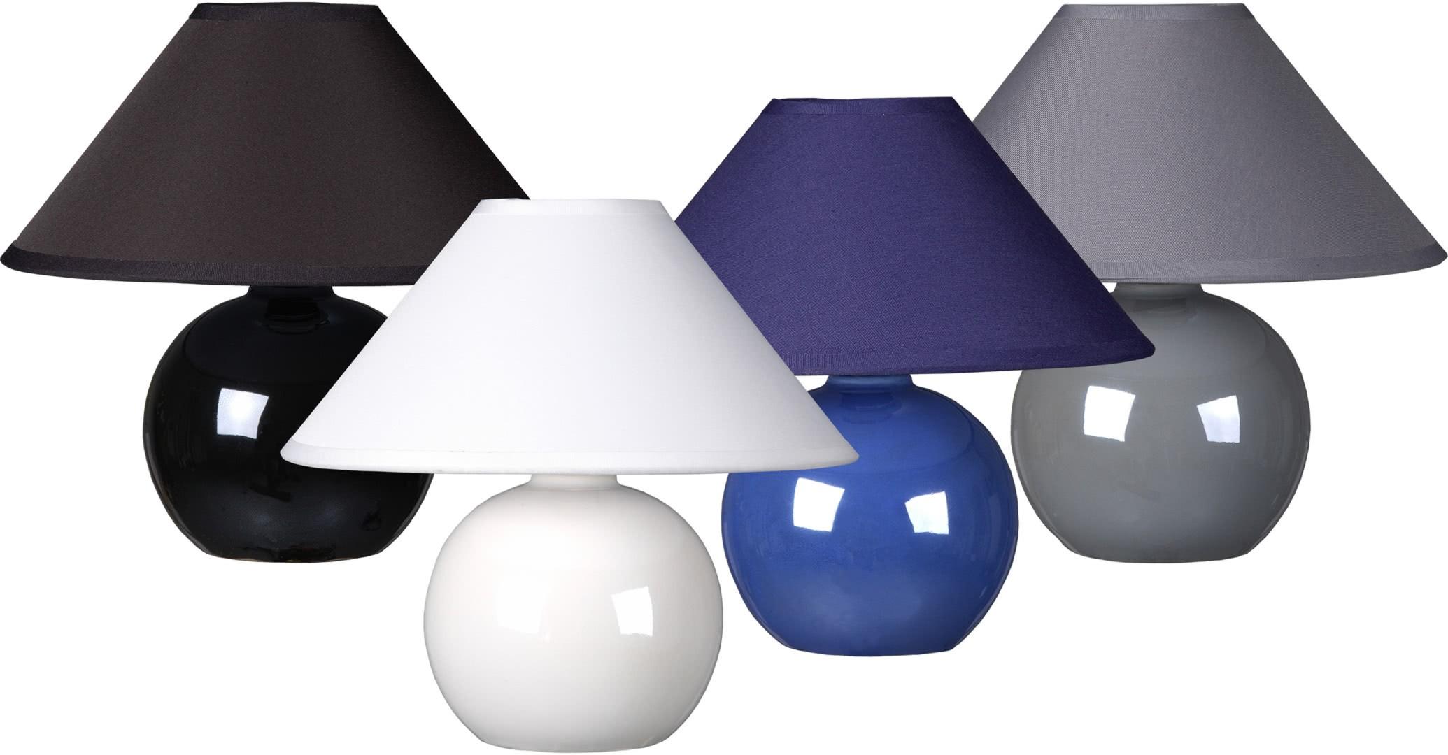 Classique Céramique Lara Lampe Table En Tissu Boule Et Blanc De 5Lc34RqAj