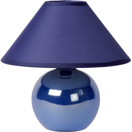 Lampe de table classique boule en céramique et tissu bleu Lara