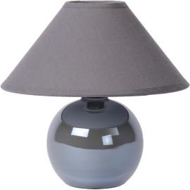 Lampe de table classique boule en céramique et tissu gris Lara