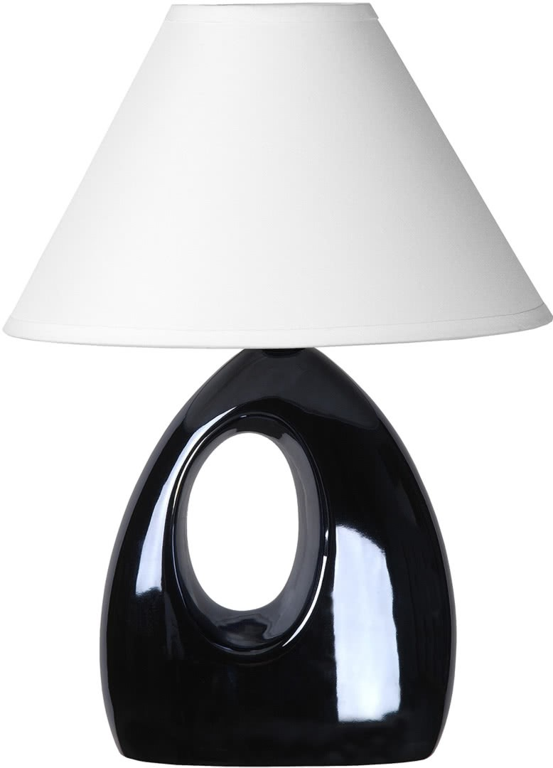 lampe de table moderne en c ramique nacr e noire mika. Black Bedroom Furniture Sets. Home Design Ideas