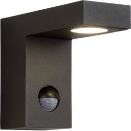 Applique extérieure moderne aluminium noir avec capteur LED Kalie