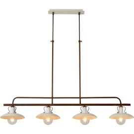 Suspension rustique en métal couleur crème 4 lampes Lary