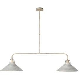 Lustre rustique en métal blanc antique 2 lampes Mahé