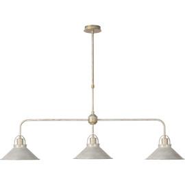 Lustre rustique en métal blanc antique 3 lampes Mahé