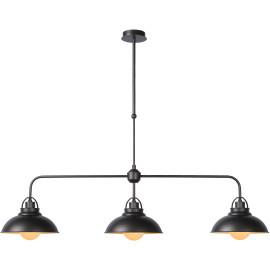Lustre industriel en métal gris foncé 3 lampes Naïg