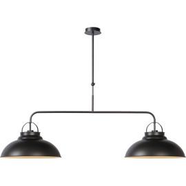 Lustre industriel en métal gris foncé 2 lampes Naïg