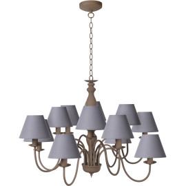 Lustre rustique en métal taupe 12 lampes Naïa