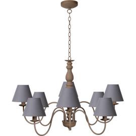 Lustre rustique en métal taupe 8 lampes Naïa