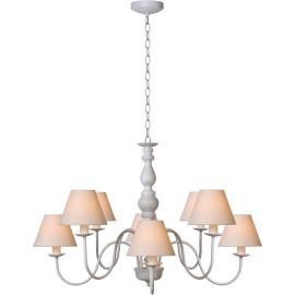 Lustre rustique en métal blanc antique 8 lampes Naïa