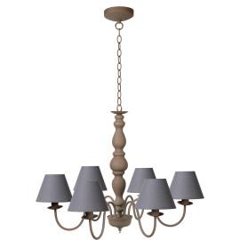 Lustre rustique en métal taupe 6 lampes Naïa