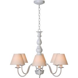Lustre rustique en métal blanc antique 6 lampes Naïa