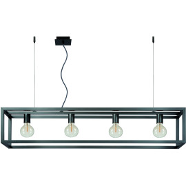 Suspension industrielle en acier gris Nahel