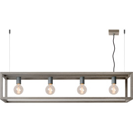 Suspension industrielle en bois gris Nahel