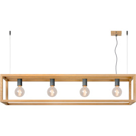 Suspension industrielle en bois clair Nahel