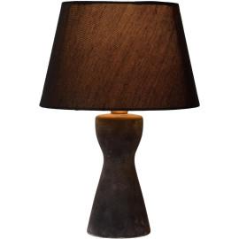 Lampe à poser rustique en céramique et tissu noir Lois