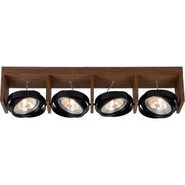 Spot design orientable led 4 spots en bois foncé Milor