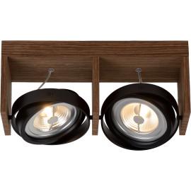 Spot design orientable led 2 spots en bois foncé Milor