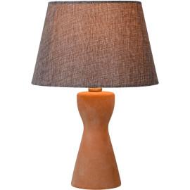 Lampe à poser rustique en céramique et tissu taupe Lois