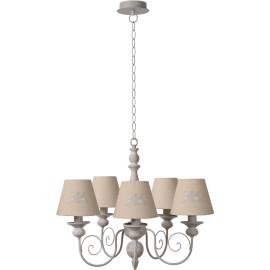 Lustre classique en métal et bois taupe 5 lampes Oliva