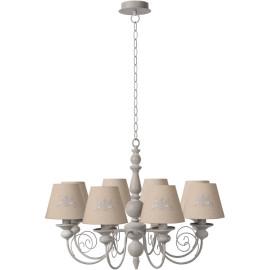 Lustre classique en métal et bois taupe 8 lampes Oliva
