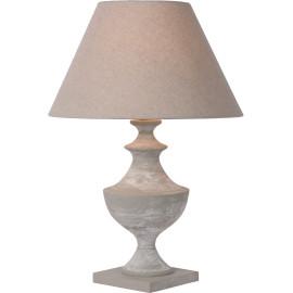 Lampe à poser classique en bois et tissu gris taupe H58 cm Oliva