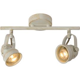 Spot rustique en aluminium blanc antique 2 LED Paco