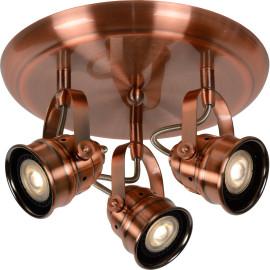 Spot rustique en aluminium cuivré rouge 3 LED Paco