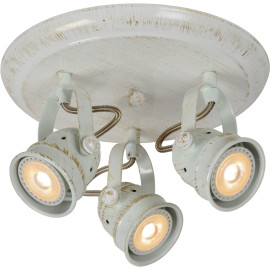 Spot rustique en aluminium blanc antique 3 LED Paco