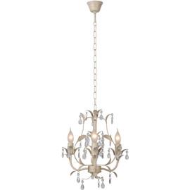 Lustre classique en métal et verre transparent 3 lampes Rana