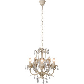 Lustre classique en métal et verre transparent 5 lampes Rana