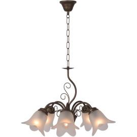 Lustre classique en métal rouillé 5 lampes Paola