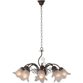 Lustre classique en métal rouillé 8 lampes Paola