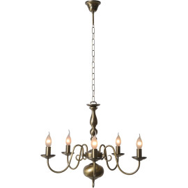 Lustre classique en métal bronzé 5 x E14 Reine