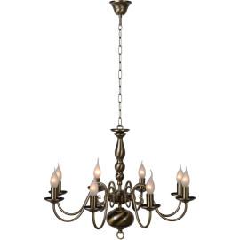 Lustre classique en métal bronzé 8 x E14 Reine