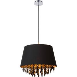 Suspension moderrne en métal et acrylique noir Ø45 cm Régilia